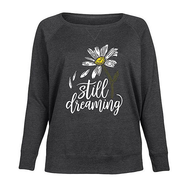 LC trendz Plus Heather Charcoal 'Still Dreaming Daisy' Slouchy... ($35) ❤ liked on Polyvore featuring tops, plus size, daisy top, graphic pullover, slouchy tops, daisy print top and slouchy pullover