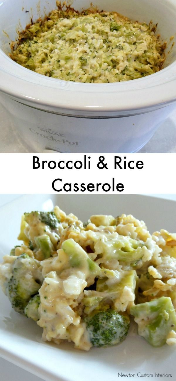 Broccoli And Rice Casserole from NewtonCustomInteriors.com.  A delicious side dish that's cooked in the crockpot.  Perfect for big holiday meals!