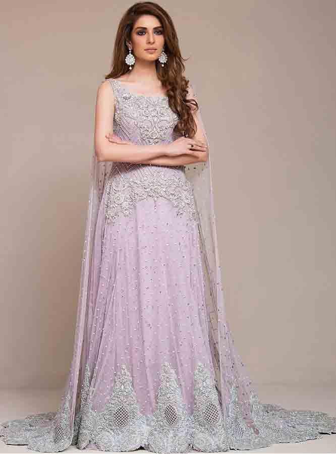 Light Purple Stani Bridal Long Tail Maxi Gown Dress Designs 2017