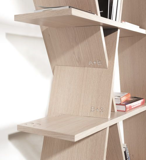 Wood shelf #XI designed by #Goncalocampos, easy to assembled like a puzzle. #bookshelves #storage #furnituredesign #wewood