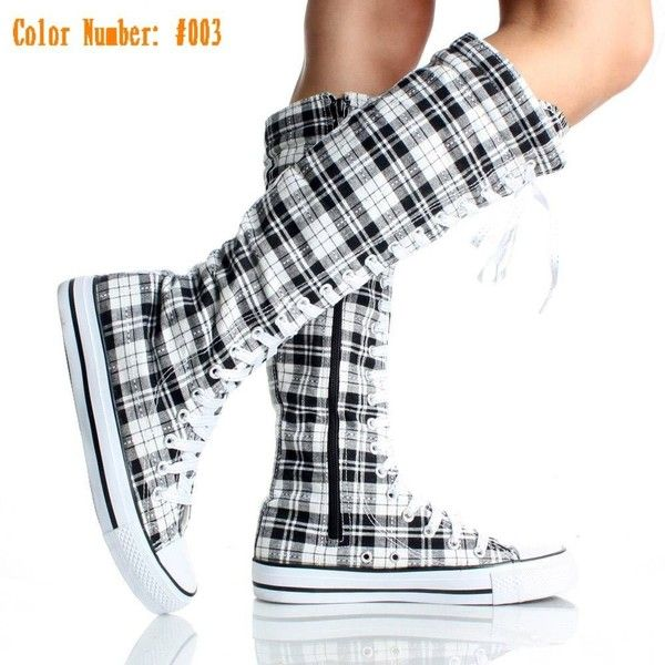Canvas Sneakers Ladies Flat Tall Punk Womens Skate Fashion Shoes Lace... ❤ liked on Polyvore featuring shoes, converse, sneakers, boots, sapato, lace up shoes, sexy shoes, canvas shoes, high heel shoes and canvas flat shoes