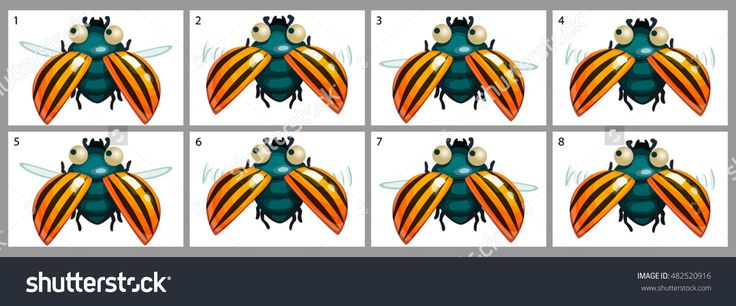 Cartoon Vector Colorado Potato Beetle Animation Fly. Game Icon Funny Flying Insect. Vector Design For App User Interface. - 482520916 : Shutterstock