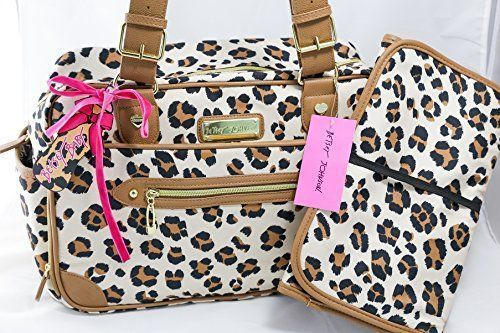 Betsey Johnson 2 piece Leopard Cheetah Luxe Leo Baby Diaper Duffle Bag Pad NWT in Diaper Bags | eBay