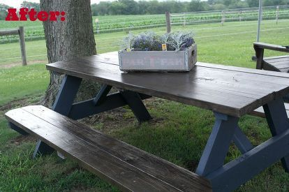 wooden picnic table makeover, outdoor furniture, outdoor living, painted furniture