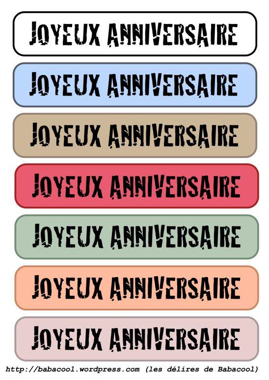 joyeux anniversaire étiquettes longues