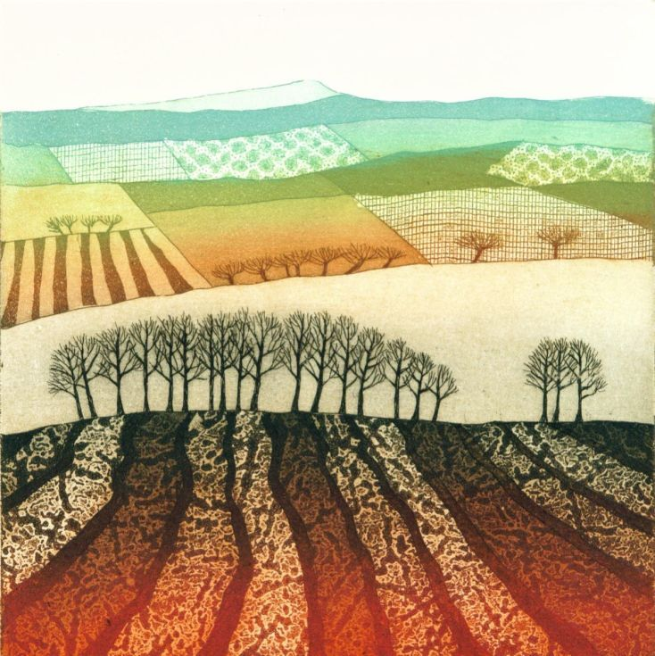 ARTFINDER: Ploughed Field (framed) by Rebecca Vincent - I have a bit of a soft spot for this little etching as it was one of the first in my series of patchwork landscape images. It has been very popular and this ...