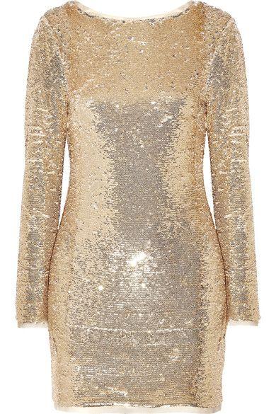 Rachel Zoe - Racko Open-back Sequined Cady Mini Dress - Gold