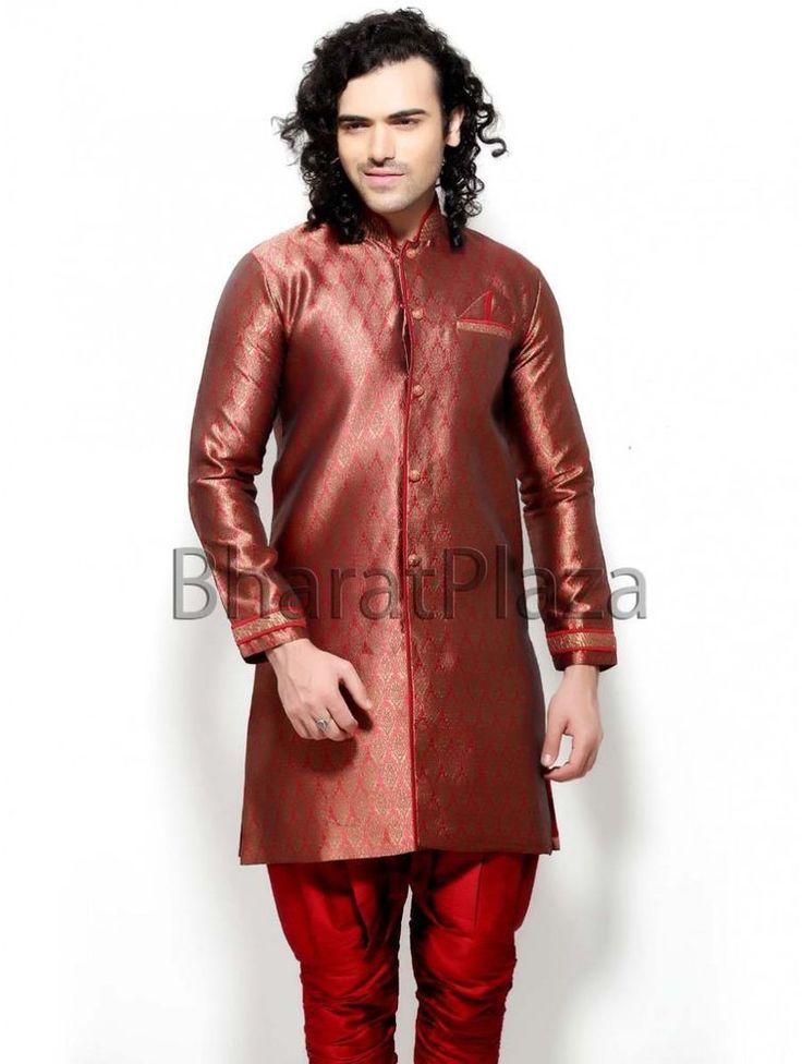 Indian Indo Western Pakistani Long Coat Wedding Party Wear Brocade Sherwani #BharatPlaza #DesignerIndoWestern