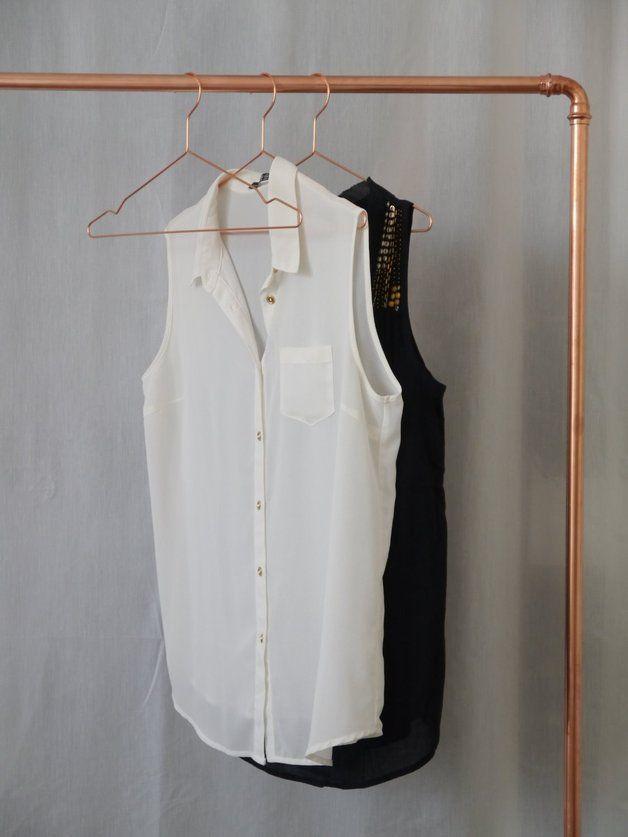 Wardrobes – Copper hanger Industrial design, minimal home design, home accessories – a unique product by Krustelkiste via en.dawanda.com