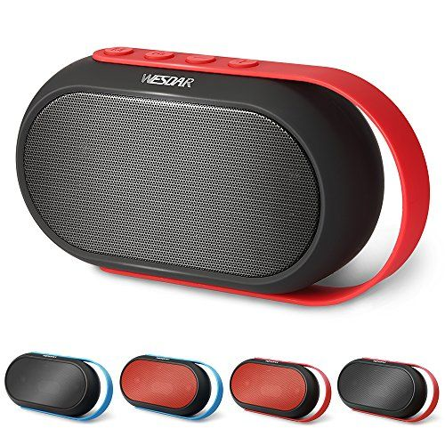 Deals week  WESDAR Bluetooth Speakers Portable Wireless Speakers with Super Bass Stereo sound Mic for Smart Phones Tablet PC Mobile Phones Black Red K10-BkR Best Selling