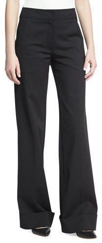 Derek Lam Wide-Leg Cuffed Pants, Black