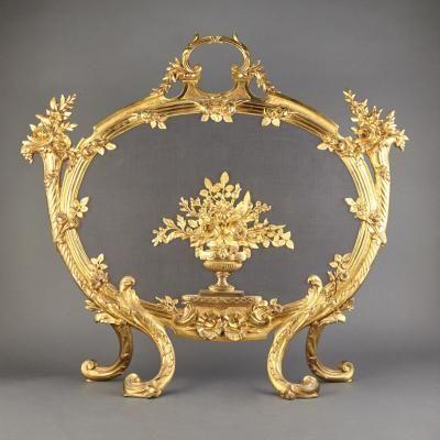 Transitional Louis XV/XVI Style Gilt-Metal Fireplace Screen