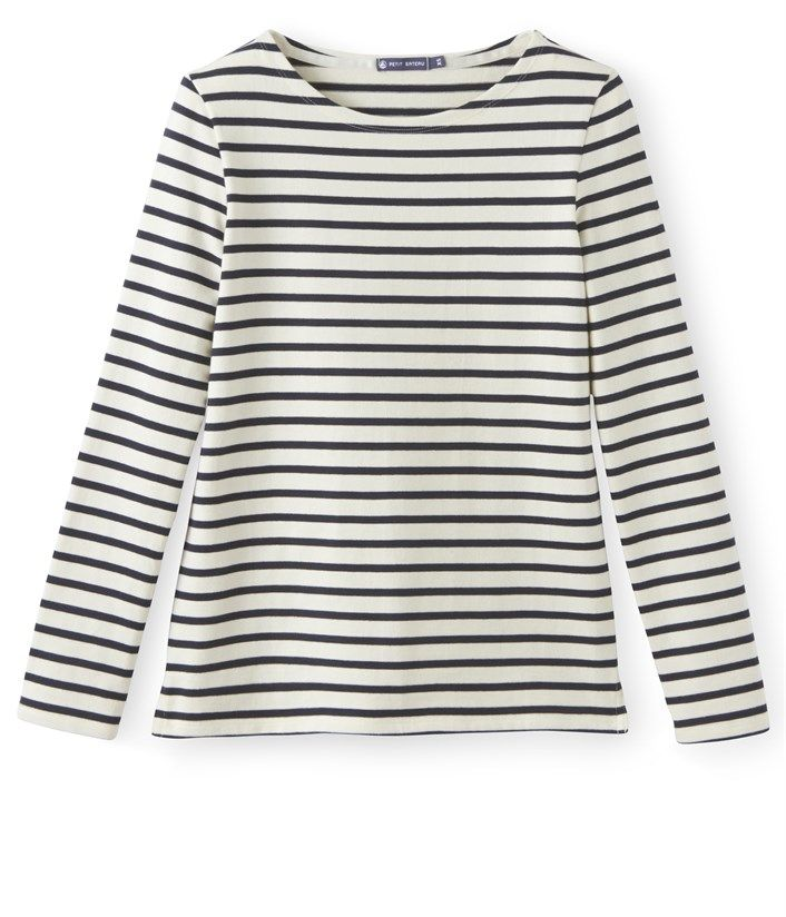 Le Petit Bateau Women's breton top in heavy jersey Coquille beige / Smoking blue. See our range of clothing and underwear for babies, children, women and men.