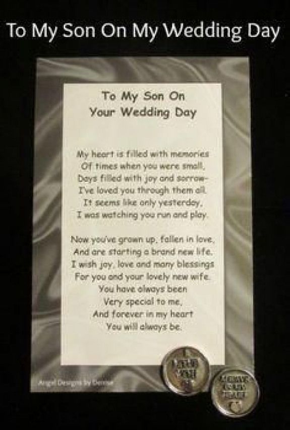 To My Son On Your Wedding Day Token Set Wedding Rehearsal Dinner Decorations Wedding Poems Wedding Day Quotes