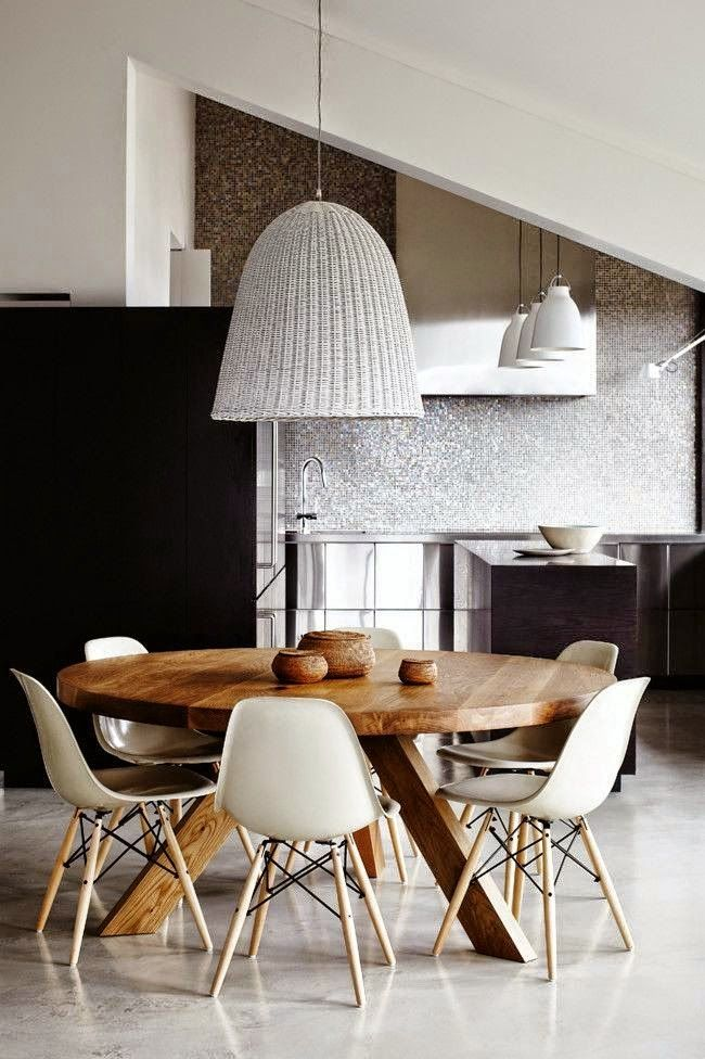 Black and white kitchen - modern - shiny backsplash, stainless steel.