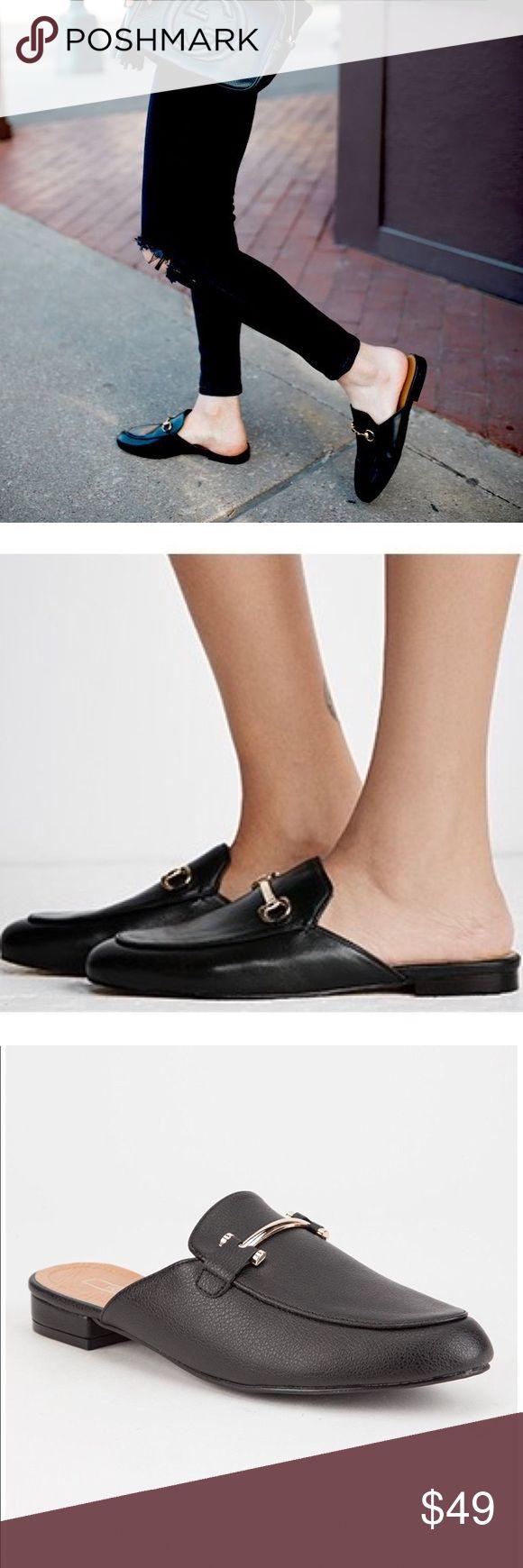 Black sandals gold bar - Black Loafer Sandals Gold Bar Slide Loafers Black Vegan Upper With Gold Bar Accent