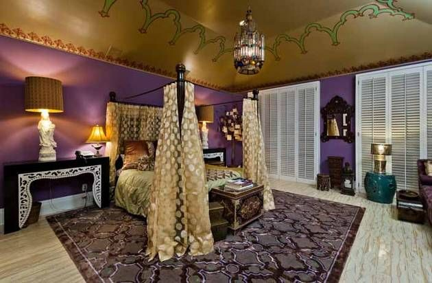 Gold and Purple Guest Room Inside Christina Aguilera's $13.5 Million Beverly Hills Mansion