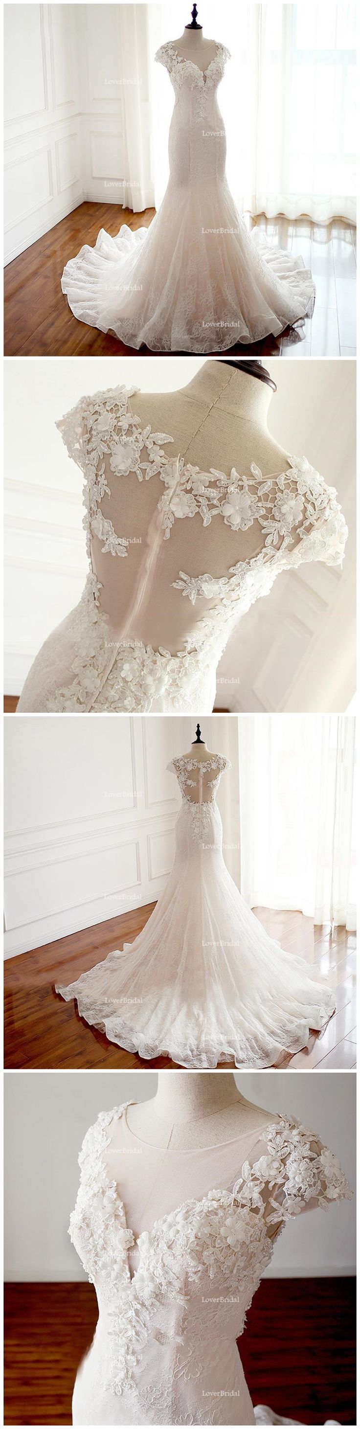 2018 Sexy See Through Cap Sleeve Lace Mermaid Wedding Bridal Dresses, Affordable Custom Made Wedding Bridal Dresses, WD268