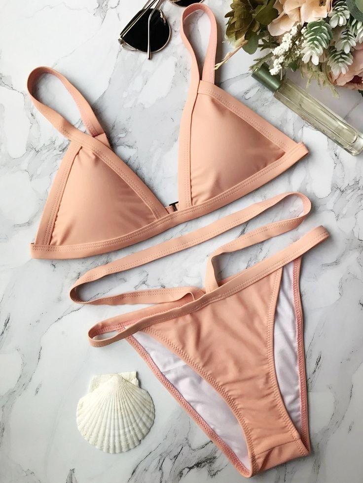 $16.49 Padded Banded String Bikini - PINK L