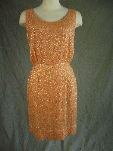 Vintage Mod 60s Melon Orange Silk Sequin Royal Lynne Mini Cocktail Dress M | eBay