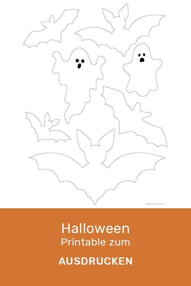 Geister Und Fledermaus Vorlage Zum Ausdrucken Freebie Diy Halloween Halloween Basteln Vorlagen Bastelvorlagen Zum Ausdrucken Fledermaus Vorlage