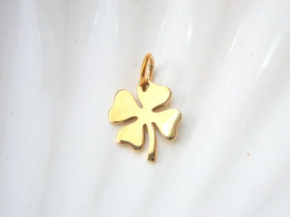 Gold Four Leaf Clover Charm  Jewelers Bronze  by AkulaHopeDesigns