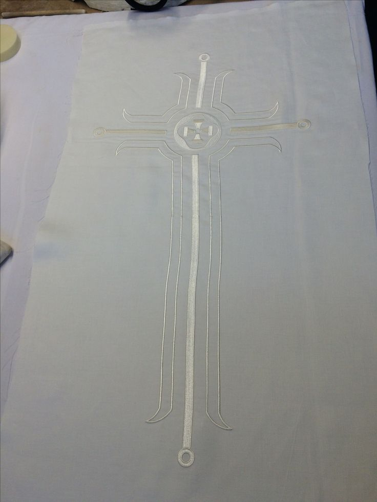 Embroidered alter cloth samples ready for customer approval