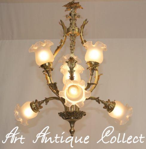 RARE Um 1920 Jugendstil Kronleuchter Lampe France Brass