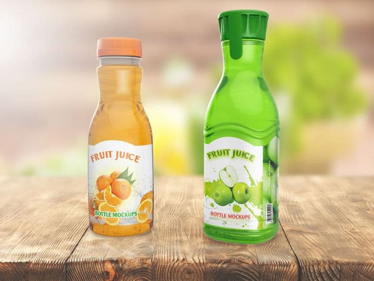 This is a mockup showing two types of fruit juice bottles, which may be useful to add to your mockup collection, especially the mockup template for a drink bottle. This mockup template is very easy to customize, to change the