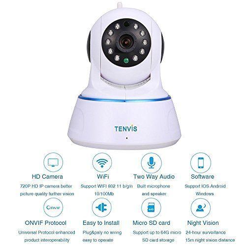 nice TENVIS Cámara de Vigilancia Seguridad HD 1280x720P P2P H.264 1.0 MP Pan / Tilt WiFi Inalámbrico Visión Nocturna Detección de Movimiento iOS Android Tablet PC