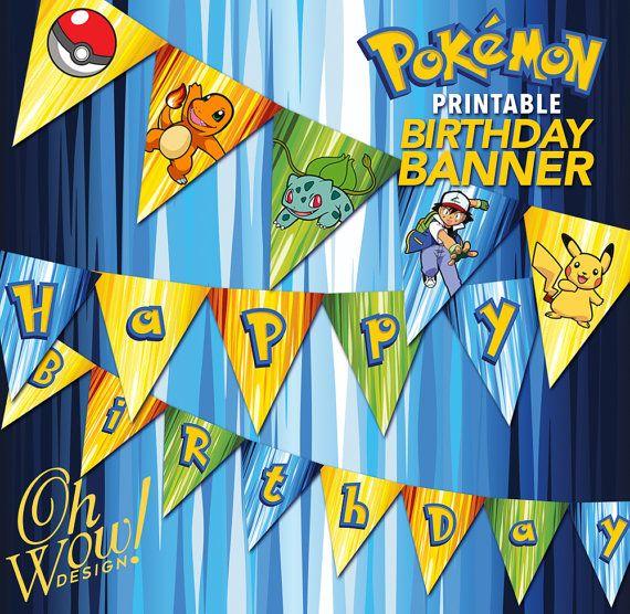 Pokemon Theme 'Happy Birthday' Banner PDF Digital File by ...
