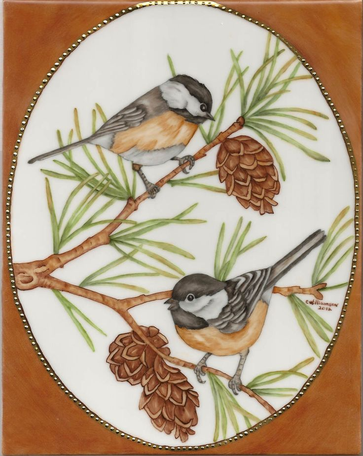 Chickadees :: Carolene's China Painting