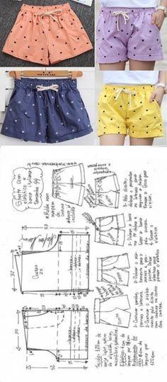 Short com elástico e barra italiana. | DIY - molde, corte e costura - Marlene Mukai