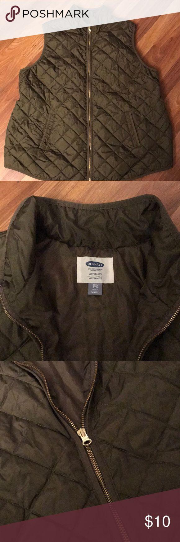 Maternity Vest - Old Navy Olive green puffer vest - gold zipper Old Navy Jackets & Coats Vests