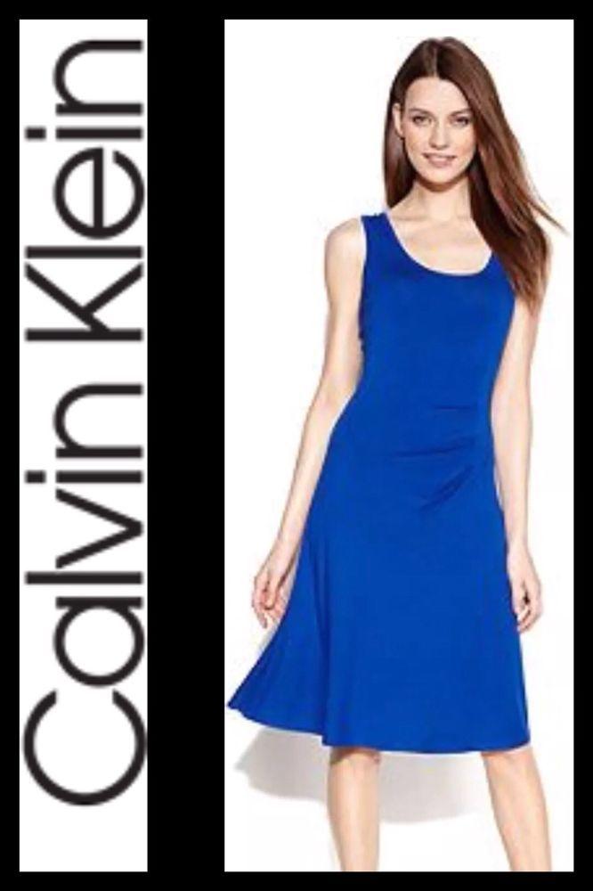 c734270ee3b864 Womens CALVIN KLEIN Sleeveless Ruched-Side Royal Blue Jersey Dress Medium |  eBay