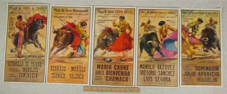Set 5 Vintage Reproduction Bullfight Posters 9 x 17in Miguelin Manolete Chamaco