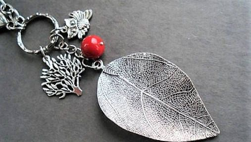 Leaf Keychain Purse Charm Key Ring Leaf Car Charm Zipper Pull