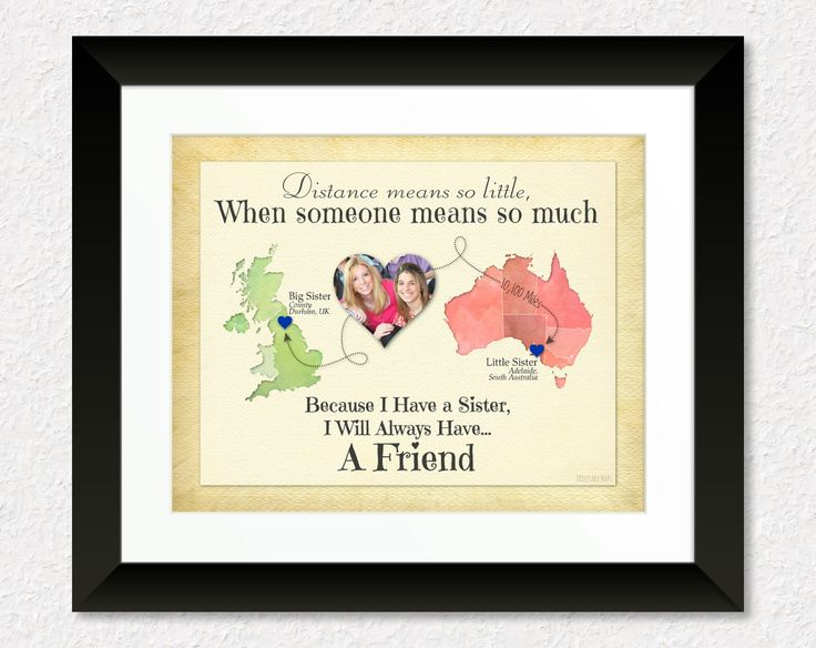 Long Distance Gift for Sister, Personalized Family Gift, Moving Away Gift, Long Distance Quote, Map Art, Keepsake Print by KeepsakeMaps on Etsy for $32.95