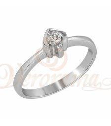 Μονόπετρo δαχτυλίδι Κ18 λευκόχρυσο με διαμάντι κοπής brilliant - MBR_015