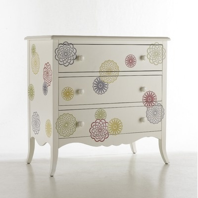 flowered chest-- I would love something like this for my bookshelf, just the flowers not the white paint