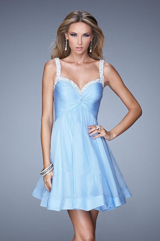 2015 Straps Zipper Blue Pink Chiffon Ruched Short Cocktail / Homecoming / Prom Dress La Femme 20677