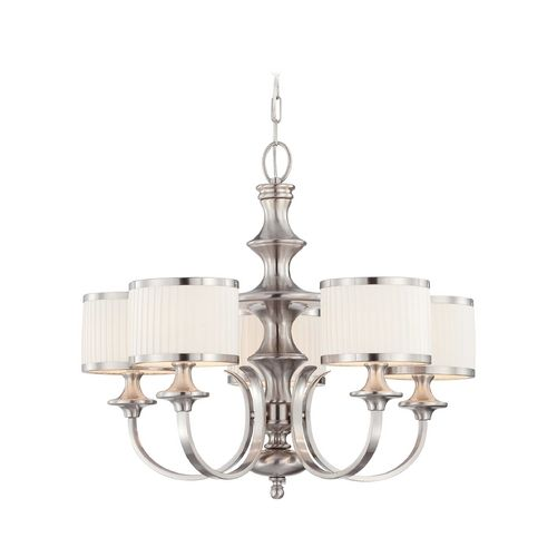 Modern Chandelier with White Shades in Brushed Nickel Finish at Destination Lighting
