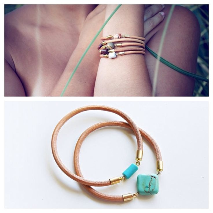 Real leather bracelet with gold plated end caps, Turquoise and Turquoise magnesite stone bead
