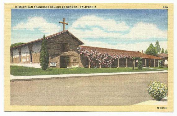 Mission San Francisco Solano De Sonoma, California Linen Era Old Postcard - Unposted