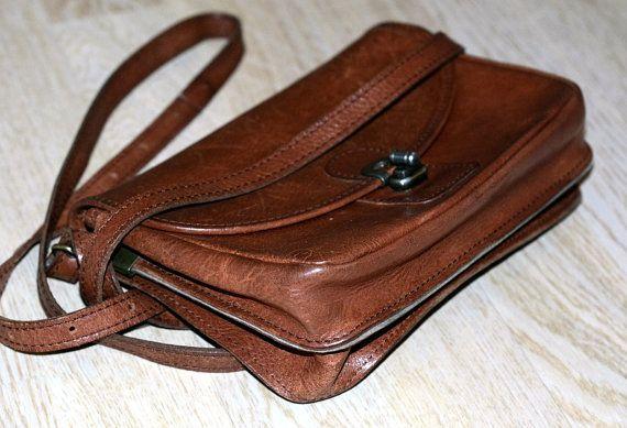 Scandinavian leather handbag Leather Satchel  by VintageButikGita