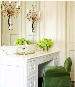 Vanity with lovely green velvet chair, as shown in Trad Home Magazine #dressing_table