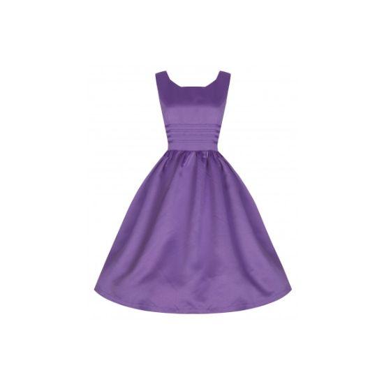 Retro šaty Lindy Bop Iris Lilac Šaty ve stylu 50. let. Úžasné šaty v lila barvě, vhodné pro společenské události - na svatbu pro nevěsty, svědkyně či družičky, na ples, na promoci. Perfektní skvěle padnoucí střih z Vás vykouzlí dokonalou dámu. Materiál 100% polyester (ruční praní). Pro větší objem sukně možné doplnit spodničkou z naší nabídky.