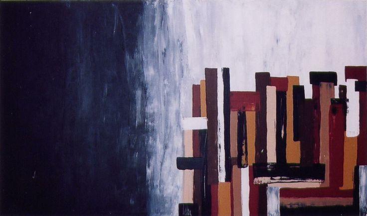 Quadro abstrarto pintado a acrílico com espátula.