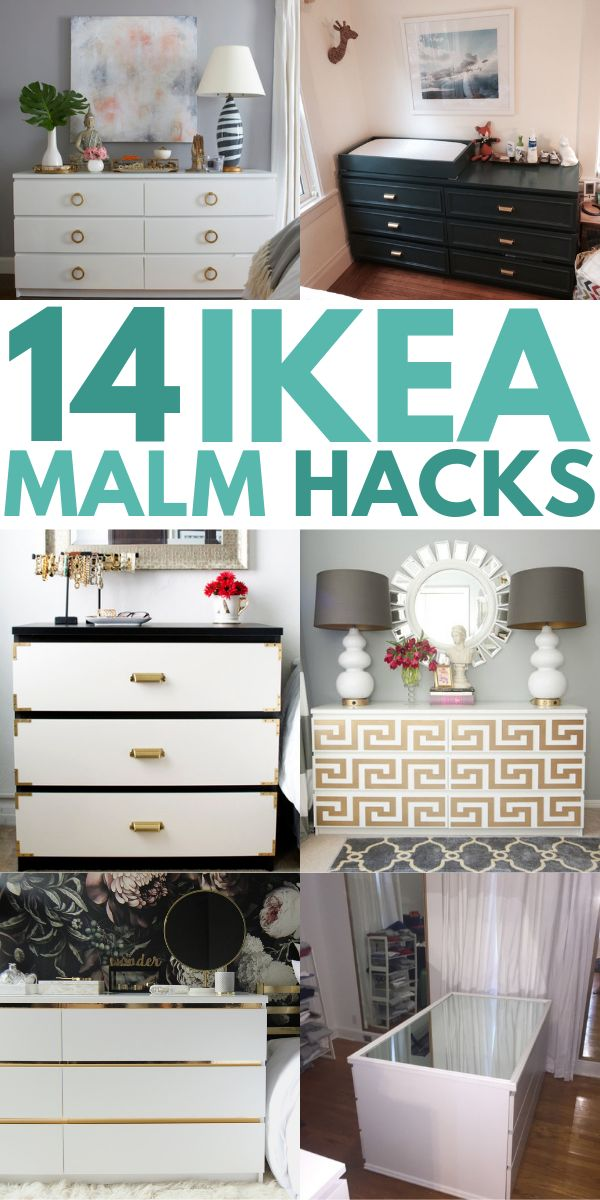 IKEA Malm Dresser Hacks to transform your furniture on a small budget! These DIY Malm hacks are great for changing the look of your nightstand, headboard, vanity, and desk! Try these clever ideas today!! #ikeamalm #malmhacks #ikeahacks