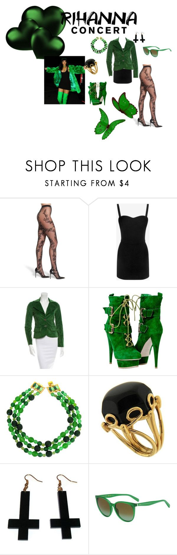 Rihanna concert by kelly17-kalymnos on Polyvore featuring Alexander McQueen, Alice + Olivia, OROBLU, Valentin Magro, DOMINIQUE AURIENTIS, Chicnova Fashion and CÉLINE